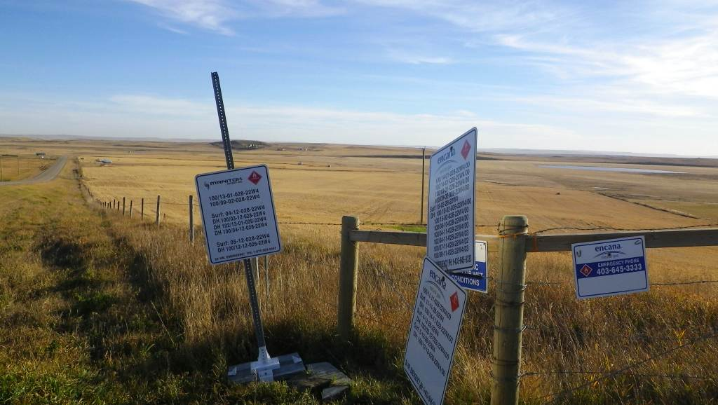 2015 10 21 Encana cumulative impacts at Rosebud, Alberta, well legal land description signs 3