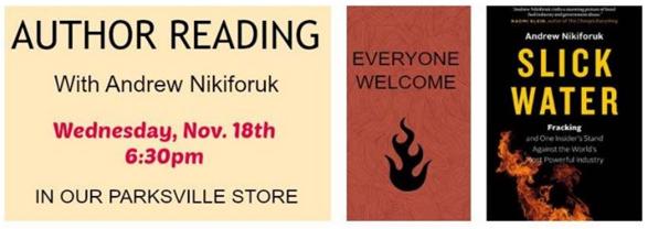 2015 11 18 Andrew Nikiforuk Slick Water Islands Book Tour, Parksville