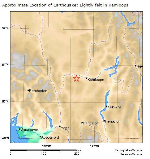 2015 12 16 Kamloops, BC, 3.6 M earthquake, map