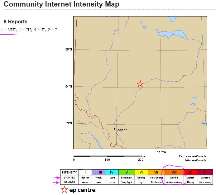 2015 2nd 4.4 Magnitude frac quake at Fox Creek, Alberta, Severe shaking felt with moderate-heavy damage reported