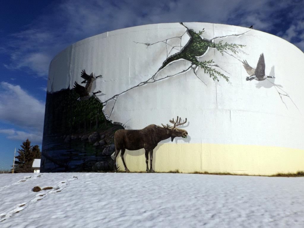 2015 Chevron funded Fox Creek water tower mural, did fracking crack it