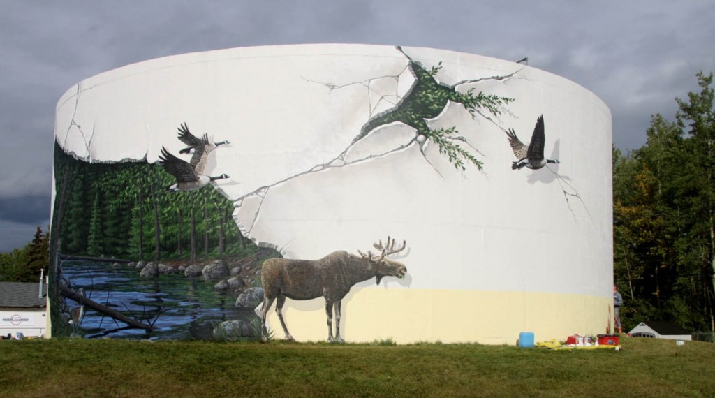 2015 Chevron funded Fox Creek water tower mural, did fracking crack it2