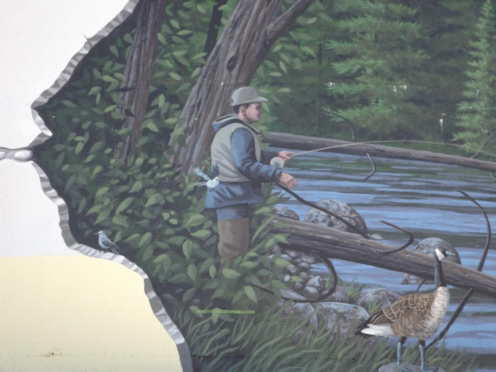 2015 Chevron funded Fox Creek water tower mural, fishing, what when fracing dries up the creeks, rivers, water wells