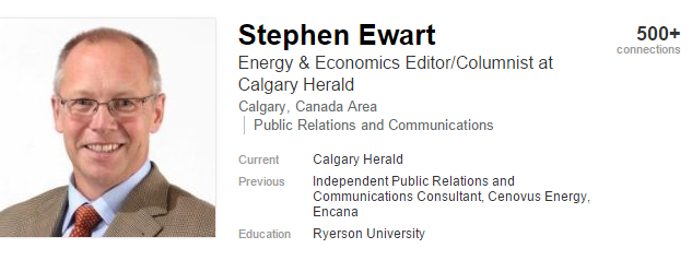 2016 02 12 Calgary Herald's Stephen Ewart previous work history, 'Independent Public Relations and Communications Consultant, Cenovus Energy, Encana'