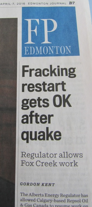 2016 04 07 AER allows Repsol to resume fracking after 4.8M world record frac quake shakes Fox Creek & St. Albert, Repsol appears too shaken to resume1