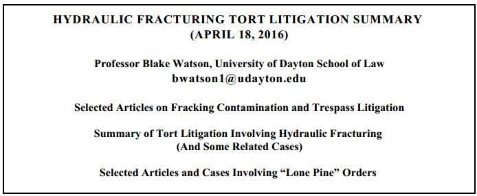 2016 04 18 Prof Blake Watson, U Dayton School of Law, Hydraulic fracturing tort litigation summary cover snap