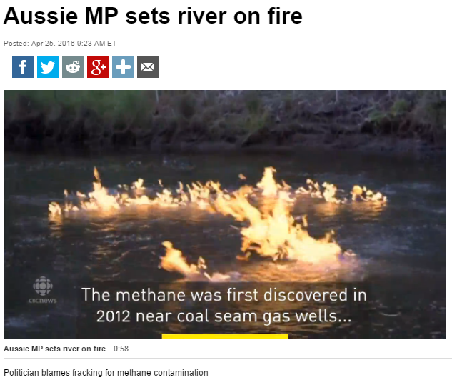 2016 04 25 CBC website main page 'Must Watch' video, 'Aussie MP sets Condamine River on fire, near CBM CSG wells frac'd by 3 companies