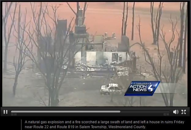 2016 04 29 Salem Twp Spectra Pipeline Explosion, critically injured 26 year old man, destroyed home, farmland2, snap2 from drone footage showing damage