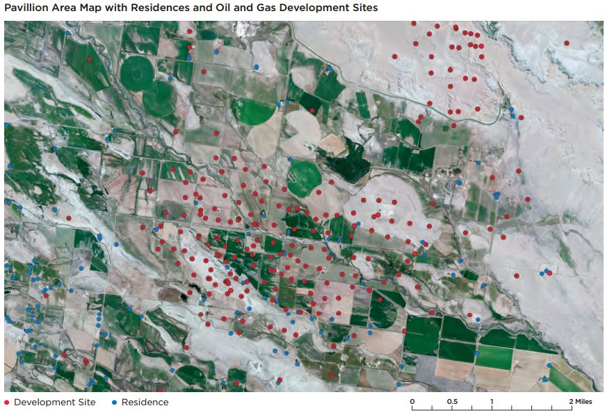 2016 06 16 Encana Pavillion Wyoming frac field, blue dots residences, red dots energy production sites