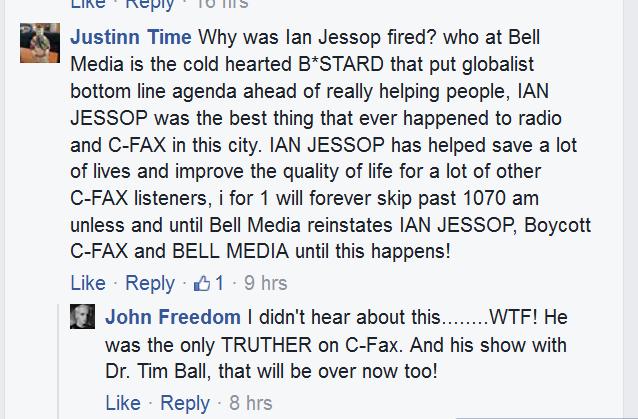 2016 06 22 Fb comments1 on CFAX Fb page, re Firing Ian Jessop