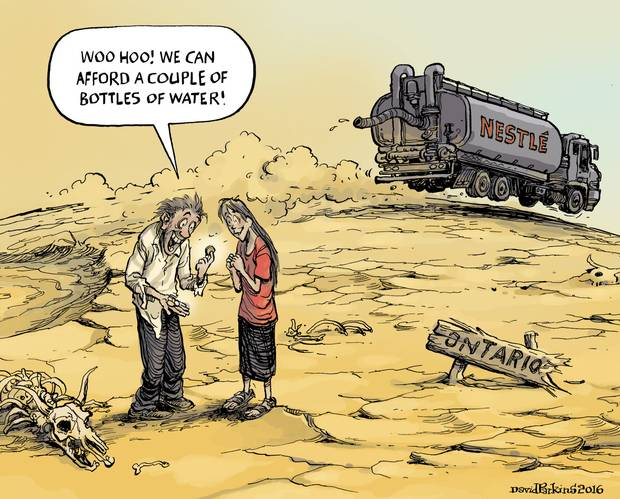 2016 08 23 Woo hoo, after Neslte pays Ontario, citizens can afford to buy a couble of bottles of water cartoon