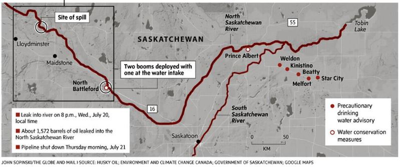 2016 08 27 part of diagrams in Globe and Mail, inadequacy of response to Husky chemical and bitumen spill N Saskatchewan River