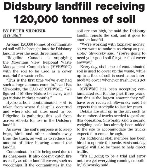 2016 08 30 Didsbury Alberta Landfill receiving 120,000 tonnes drilling waste, how much NORM contaminated