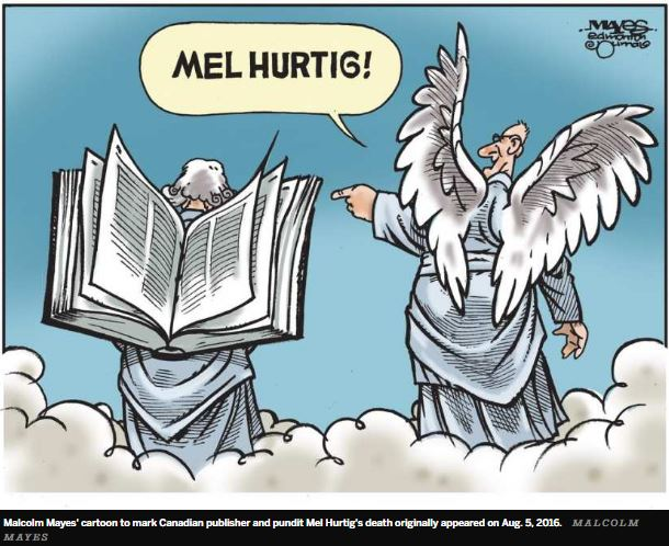 2016 08 Malcolm Mayes Mel Hurtig cartoon, book for wings in heaven