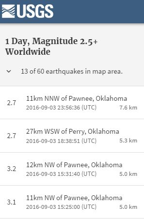 2016 09 03 5.6M earthquake Pawnee Oklahoma, in swarm of 13 quakes, snap 2