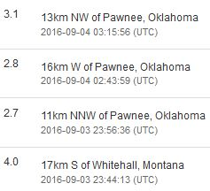 2016 09 03 Evening aftershocks to 5.6M Oklahoma earthquake, Montana super shallow 4.0M, 1.5 km deep