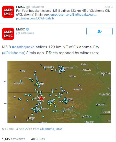 2016 09 03 Pawnee Oklahoma earthquake, originally reported as 5.8M