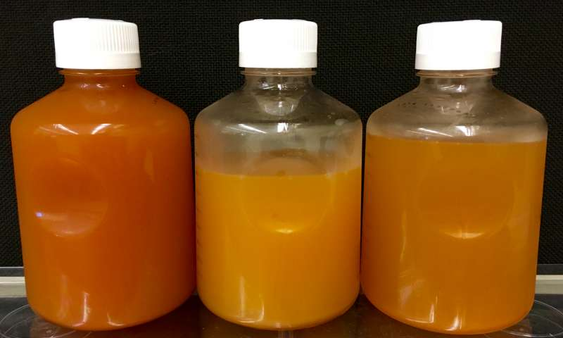 2016 09 05 photo produced water from shale formations, orange w large amts iron that oxidizes when the fluids brought to surface