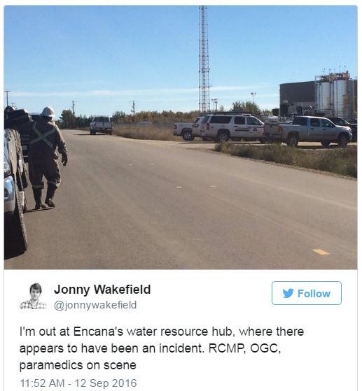 2016-09-12-jonny-wakefield-tweet-at-encanas-water-resource-hub-where-explosion-injured-a-worker