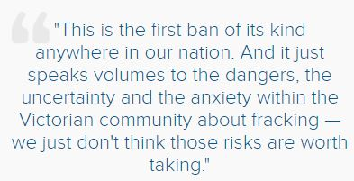 2016 09 30 quote in ABC News article on Victoria state govt banning unconventional gas dev