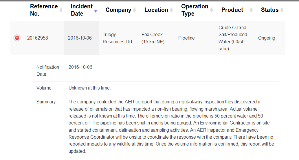 2016-10-06-trilogy-pipeline-oil-spill-ne-fox-creek-aer-incident-report-screen-capture-oct-7-2016