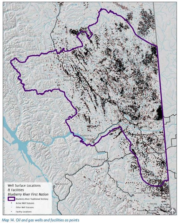 2016 Blueberry River First Nations Cumulative Impacts Atlas, Map 14 Oil and gas wells and facilities as points