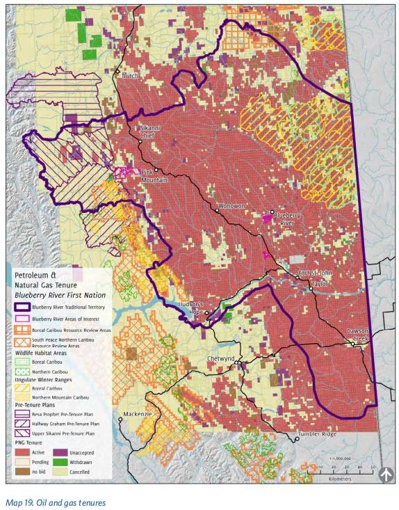 2016 Blueberry River First Nations Cumulative Impacts Atlas, Map 19 Oil and gas tenures