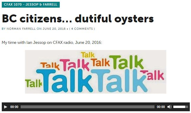 20165 06 20 Norm Farrell post of him being interviewed by Ian Jessop, Ian's last interview before termination at CFAX 1070
