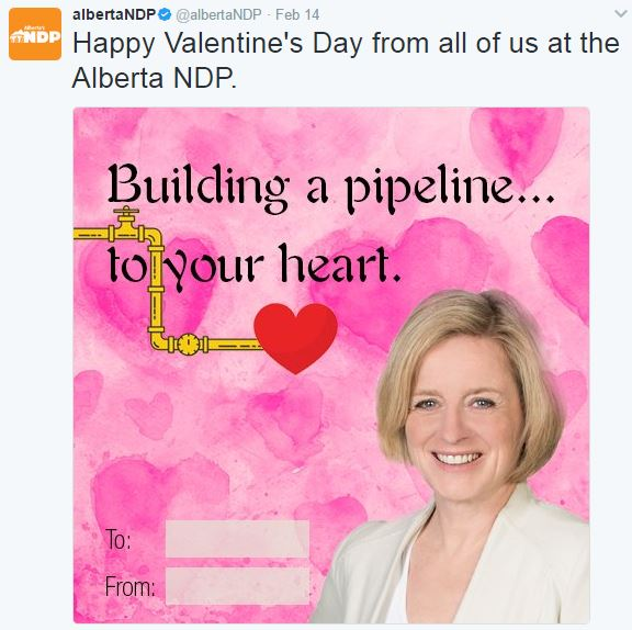 2017 02 14 Happy Valentine's Day from Alberta NDP, 'Building a pipeline to your heart'