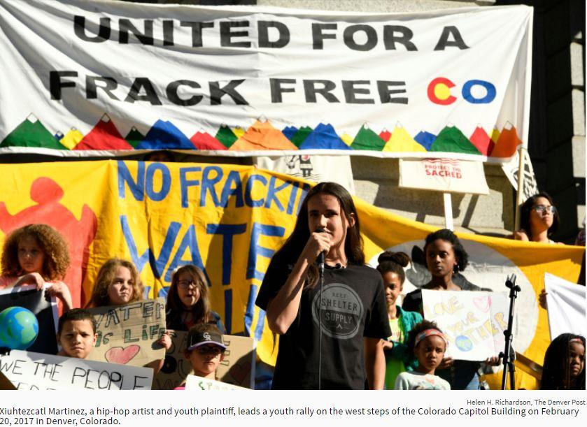 2017 02 20 Xiuhtezcati Martinez leaking frac free youth rally steps Colorado Capitol Bldg