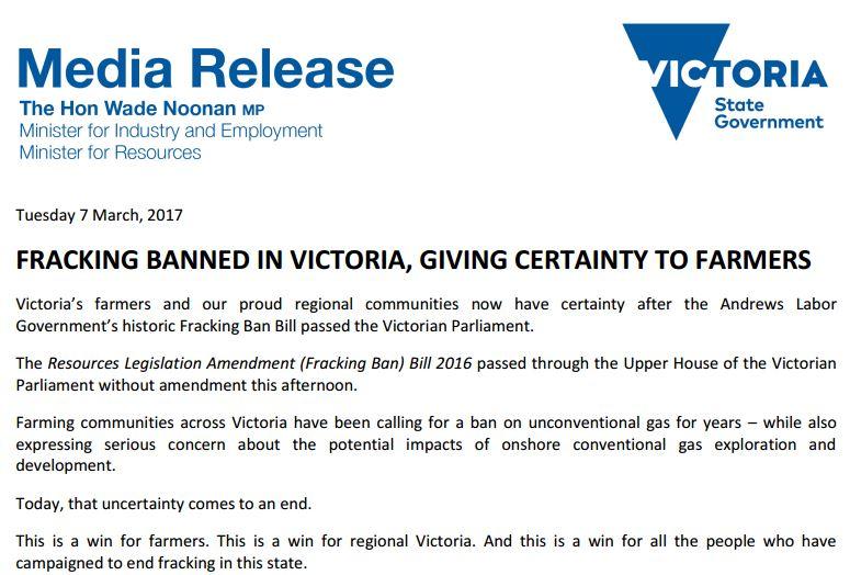 2017 03 07 Victoria State Govt, Australia, Media Release on Frack Ban