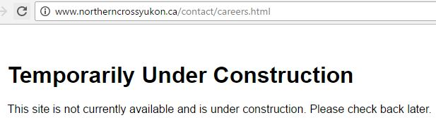 2017 04 11 Does Northern Cross Yukon exist, careers page, nothing on their website, better get a job elsewhere