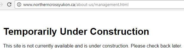 2017 04 11 Does Northern Cross Yukon exist, management page, nothing on their website