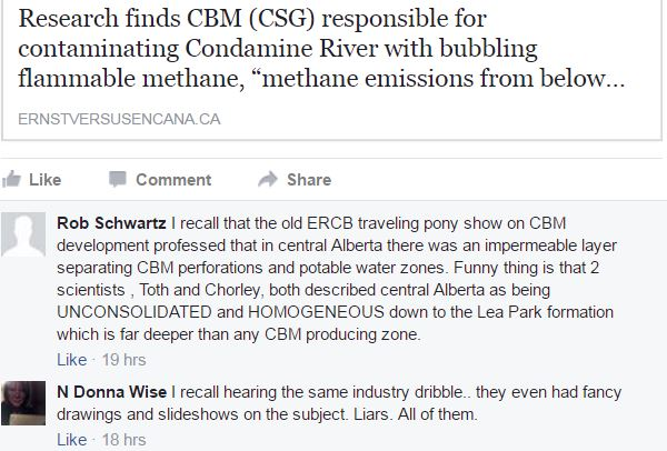 2017 04 19 snap ASRG fb page, Schwartz, Wise commenting on AER, AENV, Encana et al lying about impermeable layer protecting gw