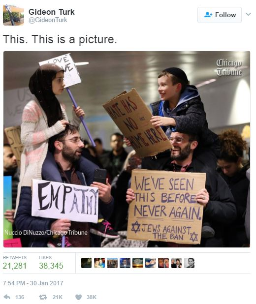 Gideon Turk Tweet, This. This is a picture. Empathy. We've seen this before. Never again. Jews against the ban.