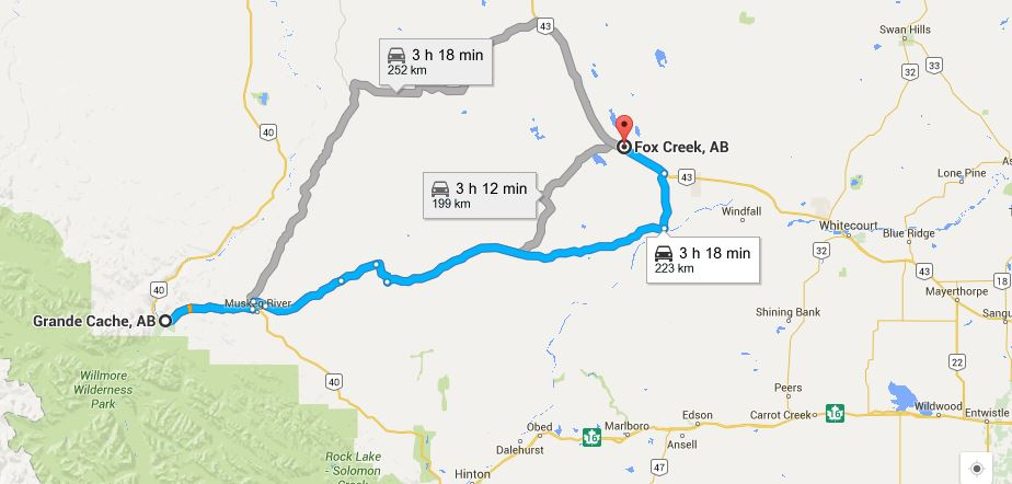 Google map Fox Creek and Grande Cache Alberta, re Conoco Phillips oil pipeline leak