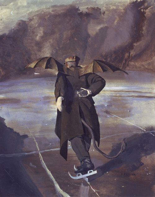 John Collier Devil skating on ice when hell freezes over