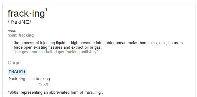 Online Definition of 'Fracking' High Volume not mentioned anywhere